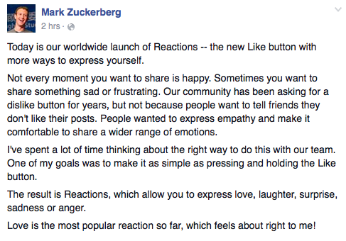 Zuckerberg Reactions